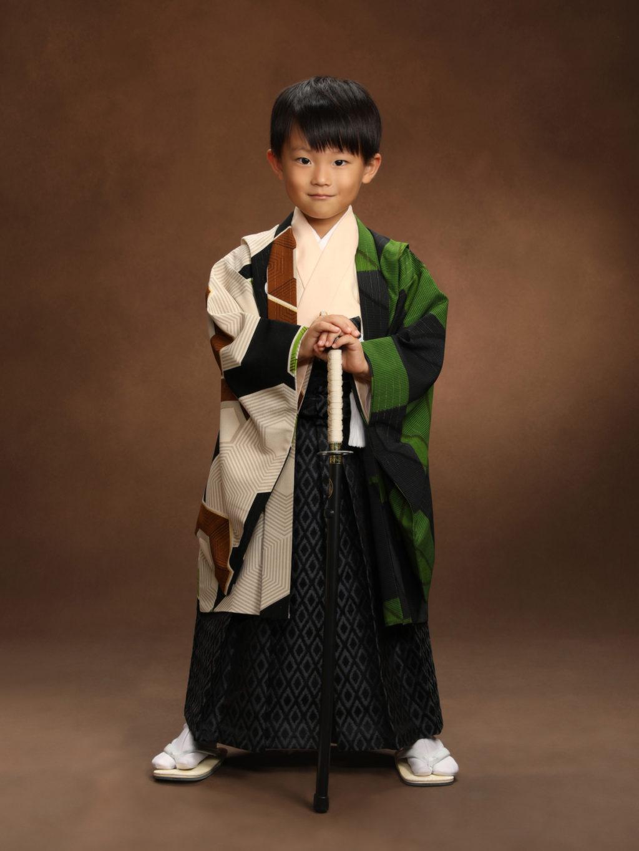 七五三記念写真撮影例(5歳男の子着物)横浜そごう写真館